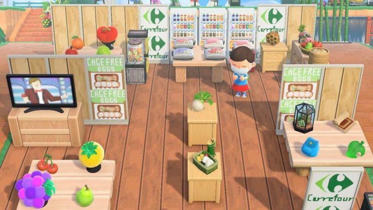 boutique Carrefour dans le jeu Animal crossing new horizon 2020