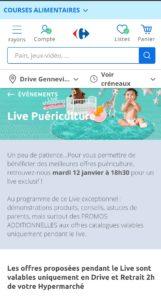 annonce du live streaming puériculture de Carrefour sur son site