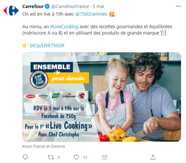 séance live streaming Carrefour